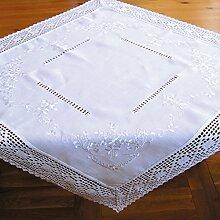 Tischdecke aus schöner Landhaus Serie Stickerei mit Häkelspitze in weiß Mitteldecke gehäkelt & bestickt Country Chic Typ368