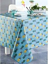 Tischdecke aus Wachstuch 140x 200Ananas Lagune