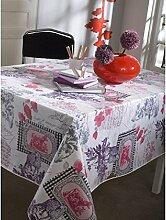 Tischdecke aus Wachstuch RUND 140cm balladine ro