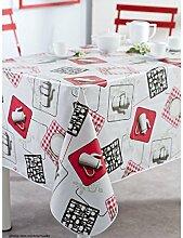 Tischdecke aus Wachstuch RUND 140cm Cafetière Küche