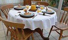 Tischdecke, Baumwolle, rund, 140cm, Weiß