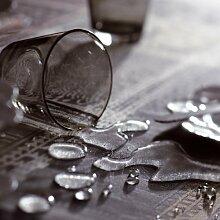 Tischdecke beschichtet Mille Wax, Baumwolle, asche, Diamètre 175 cm