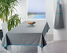 Tischdecke, beschichtet, Paradise grau/türkis 150x 150