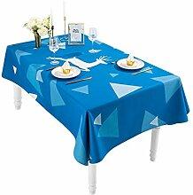 Tischdecke Blau Baumwolle Leinen Rechteckige