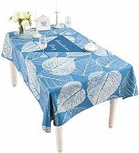 Tischdecke Blue Leaf Tuch Baumwolle Leinen