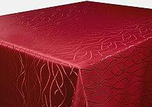 Tischdecke bordeaux 160x360 cm eckig in glanzvoller Streifenoptik, eckig - Größe, Farbe & Form wählbar (Rund Eckig Oval)
