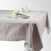 Tischdecke CHÂTELAINE aus Stoff, grau, 150x250
