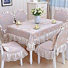 Tischdecke, Couchtisch Tuch runder Tisch Lace Leinen europäischer Stil rechteckig / rund ( Farbe : #1 , größe : 130x130cm )