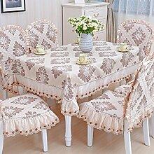 Tischdecke, Couchtisch Tuch runder Tisch Lace Leinen europäischer Stil rechteckig / rund ( Farbe : #4 , größe : 110x110cm )