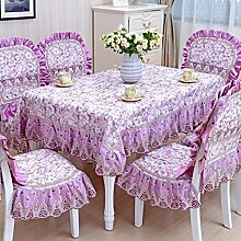 Tischdecke, Couchtisch Tuch runder Tisch Lace Leinen europäischen Stil rechteckig / rund 130X180cm ( Farbe : #3 )