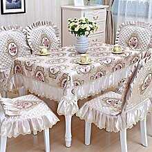 Tischdecke, Couchtisch Tuch runder Tisch Lace Leinen europäischen Stil rechteckig / rund 130X180cm ( Farbe : #2 )