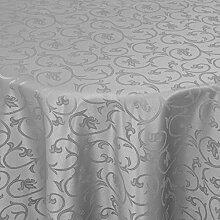 Tischdecke Damast Barock mit Saum, Eckig Oval Rund