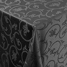 Tischdecke Damast Barock mit Saum, Eckig Oval Rund Größe und Farbe wählen - Premium Qualität - Ertex (Eckig 130x280 cm, Schwarz)