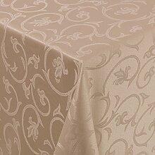 Tischdecke Damast Barock mit Saum, Eckig Oval Rund Größe und Farbe wählen - Premium Qualität - Ertex (Eckig 130x220 cm, Hell-Braun)
