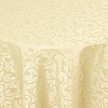 Tischdecke Damast Barock mit Saum, Eckig Oval Rund Größe und Farbe wählen - Premium Qualität - Ertex (Rund Ø 170 cm, Creme-Beige)
