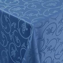 Tischdecke Damast Barock mit Saum, Eckig Oval Rund Größe und Farbe wählen - Premium Qualität - Ertex (Eckig 130x280 cm, Blau)