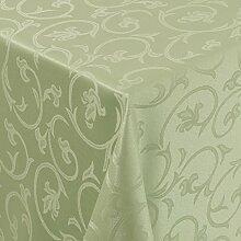 Tischdecke Damast Barock mit Saum, Eckig Oval Rund Größe und Farbe wählen - Premium Qualität - Ertex (Eckig 130x250 cm, Hell-Grün)