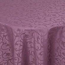 Tischdecke Damast Barock mit Saum, Eckig Oval Rund Größe und Farbe wählen - Premium Qualität - Ertex (Rund Ø 170 cm, Lila)