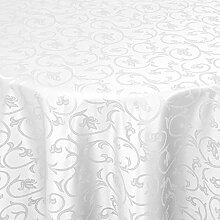 Tischdecke Damast Barock mit Saum, Eckig Oval Rund Größe und Farbe wählen - Premium Qualität - Ertex (Oval 160 x 220 cm, Weiß)