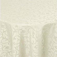 Tischdecke Damast mit Saum im Barockdesign - Eckig Oval und Rund in Premiumqualität- Größe und Farbe wählbar RUND 220cm in Chamapagner