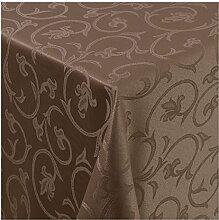 Tischdecke Damast mit Saum im Barockdesign - Eckig Oval und Rund in Premiumqualität- Größe und Farbe wählbar ECKIG 130x250 cm in Dunkelbraun