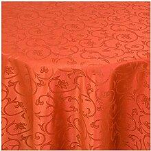 Tischdecke Damast mit Saum im Barockdesign - Eckig Oval und Rund in Premiumqualität- Größe und Farbe wählbar OVAL 160x280 cm in Terrakotta