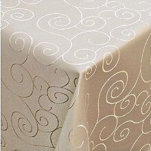 Tischdecke Damast mit Saum im Ornamentedesign - Eckig Oval und Rund in Premiumqualität- Größe und Farbe wählbar ECKIG 130x250 cm in Chamapagner