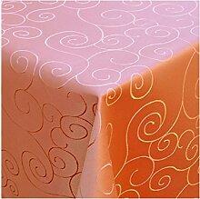 Tischdecke Damast mit Saum im Ornamentedesign - Eckig Oval und Rund in Premiumqualität- Größe und Farbe wählbar OVAL 140x190 cm in Terrakotta
