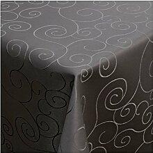 Tischdecke Damast mit Saum im Ornamentedesign - Eckig Oval und Rund in Premiumqualität- Größe und Farbe wählbar ECKIG 130x280 cm in Schwarz