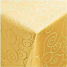 Tischdecke Damast mit Saum im Ornamentedesign - Eckig Oval und Rund in Premiumqualität- Größe und Farbe wählbar ECKIG 130x130 cm in Dunkelgelb