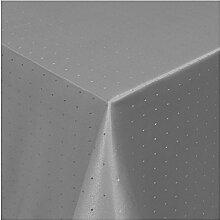 Tischdecke Damast mit Saum im Punktedesign - Eckig