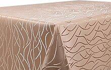 Tischdecke Damast mit Streifenmotiv, bügelfrei, eckig 130x260 cm Hellbraun