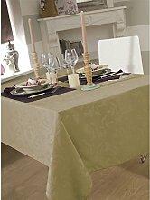 Tischdecke Damast Ombra Elfenbeinfarben rund 180