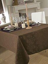 Tischdecke Damast Ombra taupe rund 180