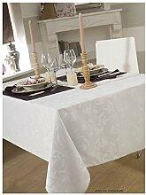 Tischdecke Damast Ombra weiß rund 180