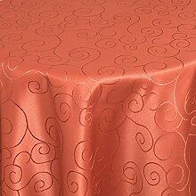 Tischdecke Damast Ornamente mit Saum, Eckig Oval Rund Größe und Farbe wählen - Premium Qualität - Ertex (Oval 160 x 220 cm, Orange)