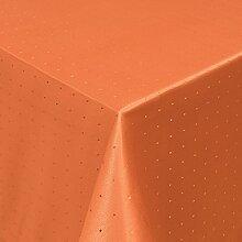 Tischdecke Damast Punkte mit Saum, Eckig Oval Rund Größe und Farbe wählen - Premium Qualität - Ertex (Eckig 130x250 cm, Orange)