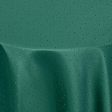 Tischdecke Damast Punkte mit Saum, Eckig Oval Rund Größe und Farbe wählen - Premium Qualität - Ertex (Rund Ø 170 cm, Dunkel-Grün)