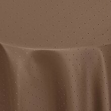 Tischdecke Damast Punkte mit Saum, Eckig Oval Rund Größe und Farbe wählen - Premium Qualität - Ertex (Oval 160 x 280 cm, Dunkel-Braun)