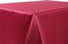 Tischdecke Damast Punkte Motiv, FARBE wählbar, feste Stoffqualität, Oval 160x220 cm Bordeaux