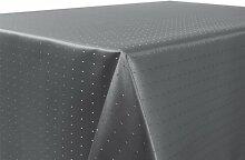 Tischdecke Damast Punkte Motiv, FARBE wählbar, feste Stoffqualität, Oval 160x220 cm Grau