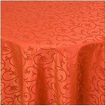Tischdecke Damast Stoff -Barock Design Tulpen- Tischtuch Bügelarm von Moderno® |rund 220 cm in Orange - mit umgenähtem Rand und Öko Tex Zertifikat - Premium Qualität - Eckig Oval Rund Größe und Farbe wählbar