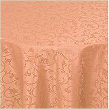 Tischdecke Damast Stoff -Barock Design Tulpen- Tischtuch Bügelarm von Moderno® |rund 170 cm in Apricot - mit umgenähtem Rand und Öko Tex Zertifikat - Premium Qualität - Eckig Oval Rund Größe und Farbe wählbar