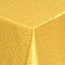 Tischdecke Damast Stoff - Ornamente Design - Tischtuch Bügelarm von Moderno® |eckig 130x280 cm in Dunkel-Gelb | mit umgenähtem Rand und Öko Tex Zertifikat | Premium Qualität - Eckig Oval Rund Größe und Farbe wählbar