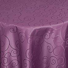 Tischdecke Damast Stoff - Ornamente Design - Tischtuch Bügelarm von Moderno® |rund 220 cm in Lila | mit umgenähtem Rand und Öko Tex Zertifikat | Premium Qualität - Eckig Oval Rund Größe und Farbe wählbar