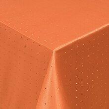 Tischdecke Damast Stoff Tischtuch Bügelarm Moderno® Punkte mit Saum, eckig 130x220 cm in Orange - mit umgenähtem Rand und Öko Tex Zertifikat - Premium Qualität - Eckig Oval Rund Größe und Farbe wählbar