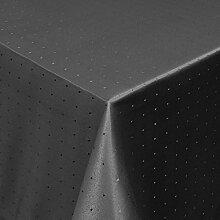 Tischdecke Damast Stoff Tischtuch Bügelarm Moderno® Punkte mit Saum, eckig 130x280 cm in Schwarz - mit umgenähtem Rand und Öko Tex Zertifikat - Premium Qualität - Eckig Oval Rund Größe und Farbe wählbar
