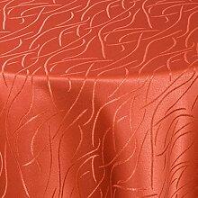 Tischdecke Damast Stoff Tischtuch Bügelarm Moderno® Streifen Wellen mit Saum, oval 160x220 cm in Orange - mit umgenähtem Rand und Öko Tex Zertifikat - Premium Qualität - Eckig Oval Rund Größe und Farbe wählbar