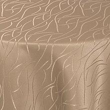 Tischdecke Damast Stoff Tischtuch Bügelarm Moderno® Streifen Wellen mit Saum, oval 160x280 cm in Hell-Braun - mit umgenähtem Rand und Öko Tex Zertifikat - Premium Qualität - Eckig Oval Rund Größe und Farbe wählbar