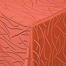 Tischdecke Damast Streifen mit Saum, Eckig Oval Rund Größe und Farbe wählen - Premium Qualität - Ertex (Eckig 130x280 cm, Orange)